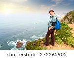 hiker with backpack on top of a ... | Shutterstock . vector #272265905