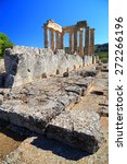 Small photo of Remains of an ancient temple from the anctuary of Zeus, Nemea, Greece