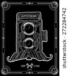 hipster camera with mustache... | Shutterstock .eps vector #272284742
