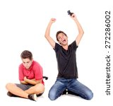 teenage boys playing videogames ... | Shutterstock . vector #272286002