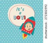 it's a boy card design | Shutterstock .eps vector #272302592