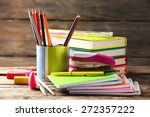 bright school stationery on old ... | Shutterstock . vector #272357222