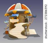 cartoon medieval house. vector...