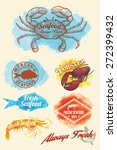 hand drawn of seafood on... | Shutterstock .eps vector #272399432