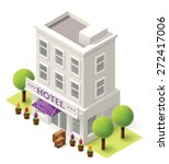 Vector Isometric Hotel Buildin...