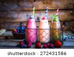 fresh smoothies | Shutterstock . vector #272431586