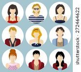 circle flat style icons set.... | Shutterstock .eps vector #272464622