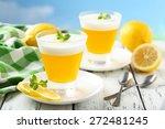 tasty lemon jelly in glass on... | Shutterstock . vector #272481245