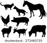 Farm Animals Vector Silhouette