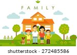 happy family of four people and ... | Shutterstock .eps vector #272485586