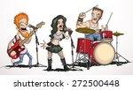 rock band of three musicians | Shutterstock .eps vector #272500448
