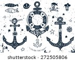 set of hand drawn anchors with... | Shutterstock .eps vector #272505806