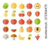 fruit icons in colorful flat...   Shutterstock .eps vector #272506475