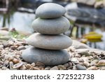 stone pyramid on the lake's... | Shutterstock . vector #272522738