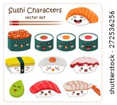 sushi cartoon character vector... | Shutterstock .eps vector #272536256