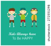 set of happy children vector | Shutterstock .eps vector #272551298