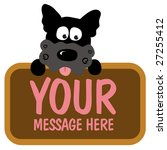 isolated dog holding sign | Shutterstock .eps vector #27255412