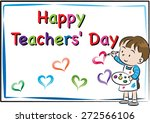 happy teacher's day card | Shutterstock .eps vector #272566106