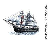 columbus ship hand drawn on... | Shutterstock .eps vector #272567552