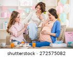 pregnant woman is open a new... | Shutterstock . vector #272575082