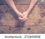 Close Up On Female Hands Folde...