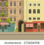 city street with tall buildings ... | Shutterstock .eps vector #272606558