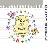 best friend drawing  | Shutterstock .eps vector #272619506