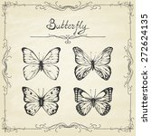 set of hand drawn butterflies. ... | Shutterstock .eps vector #272624135