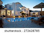 Stock photo view of a hotel in evening sky 272628785