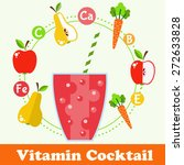 bright smoothie with fruits and ... | Shutterstock .eps vector #272633828
