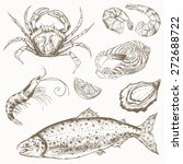 seafood set. hand drawn vintage ... | Shutterstock .eps vector #272688722