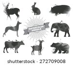 Set Of Watercolor Animals.blac...
