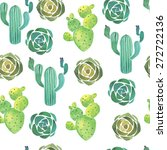 watercolor cactus and succulent ... | Shutterstock .eps vector #272722136