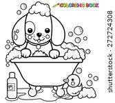 dog in a tub taking a bath... | Shutterstock .eps vector #272724308