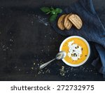 pumpkin soup with cream  seeds  ... | Shutterstock . vector #272732975