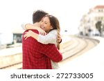 Happy Couple Hugging In A Train ...