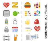 set of icons of healthy and... | Shutterstock .eps vector #272748806
