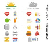 trendy healthy and unhealthy... | Shutterstock .eps vector #272748812