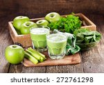 glasses of green juice with... | Shutterstock . vector #272761298