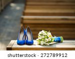 blue shoes and a bouquet of... | Shutterstock . vector #272789912