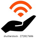 wifi on hand vector icon