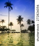 tropical pool in summer twilight | Shutterstock . vector #272826056