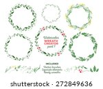 vector watercolor wreaths and... | Shutterstock .eps vector #272849636