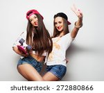 two girl skaters go crazy and... | Shutterstock . vector #272880866