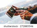 double exposure of hand touch...   Shutterstock . vector #272885546