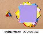 colorful memo pads on the cork...   Shutterstock . vector #272921852