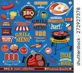 vintage bbq meat poster design...   Shutterstock .eps vector #272927378