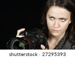 Close-up of Female Photographer w/SLR - stock photo