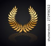 gold laurel wreath with  shadow ... | Shutterstock .eps vector #272958212