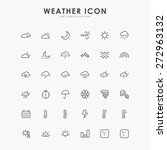 36 weather minimal line icons | Shutterstock .eps vector #272963132